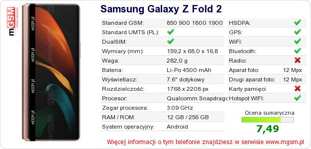 Dane telefonu Samsung Galaxy Z Fold 2