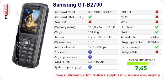 Dane telefonu Samsung GT-B2700