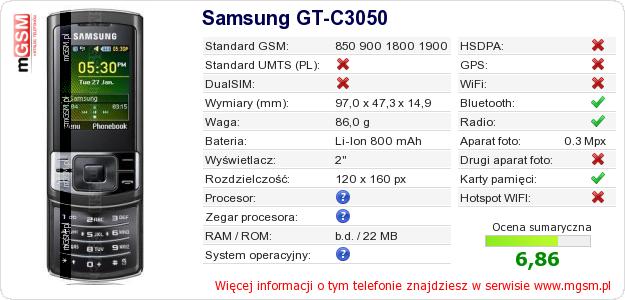 Dane telefonu Samsung GT-C3050