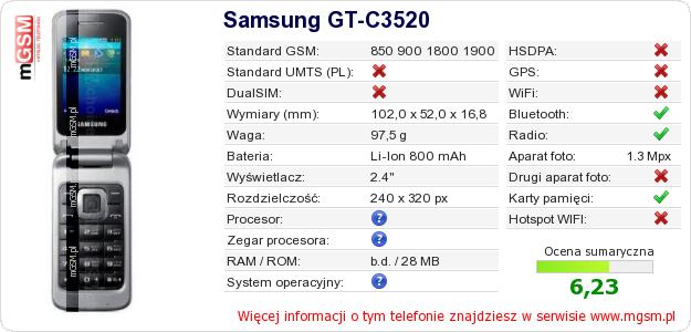 Dane telefonu Samsung GT-C3520