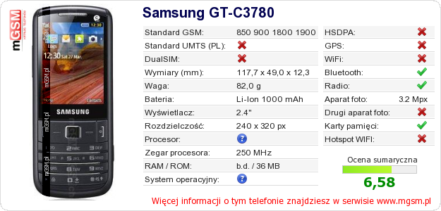 Dane telefonu Samsung GT-C3780