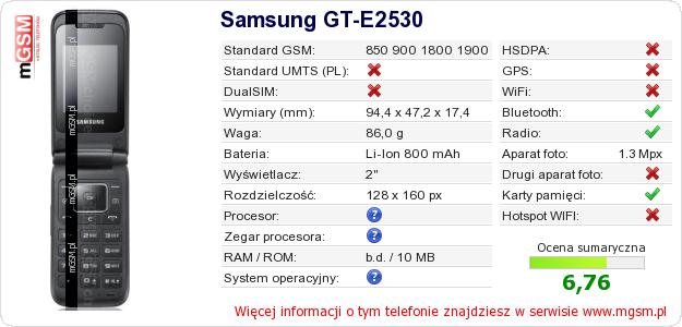 Dane telefonu Samsung GT-E2530
