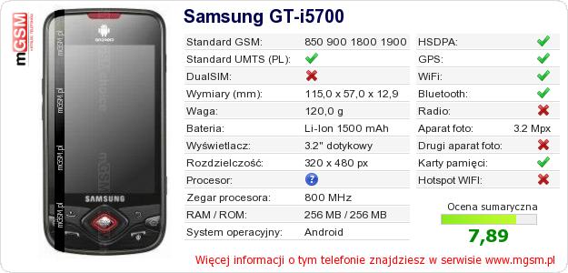 Dane telefonu Samsung GT-i5700