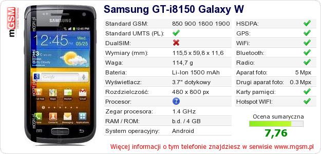 Dane telefonu Samsung GT-i8150 Galaxy W
