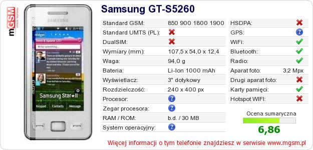 Dane telefonu Samsung GT-S5260