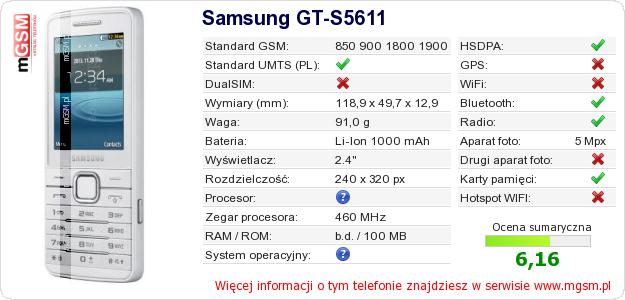 Dane telefonu Samsung GT-S5611