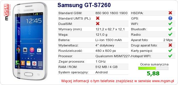 Dane telefonu Samsung GT-S7260