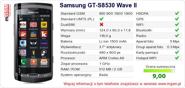 Dane telefonu Samsung GT-S8530 Wave II