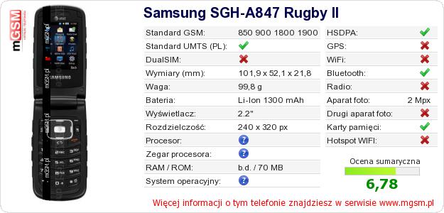 Dane telefonu Samsung SGH-A847 Rugby II