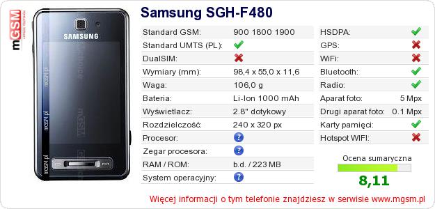 Dane telefonu Samsung SGH-F480