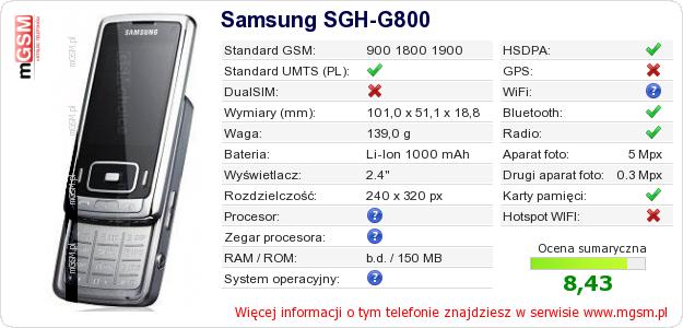 Dane telefonu Samsung SGH-G800