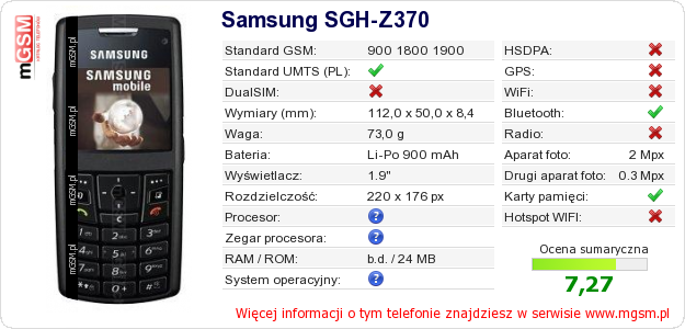 Dane telefonu Samsung SGH-Z370