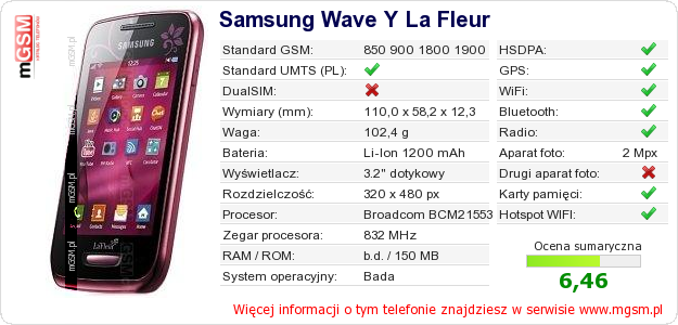 TELEFON SAMSUNG WAVE Y LA FLEUR - Produkt