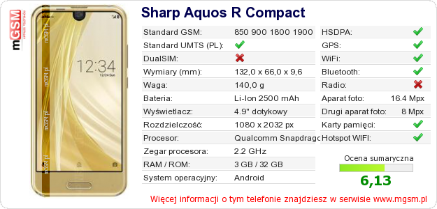 Dane telefonu Sharp Aquos R Compact