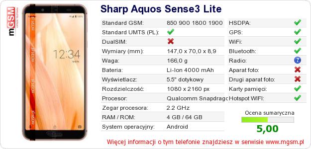 Dane telefonu Sharp Aquos Sense3 Lite