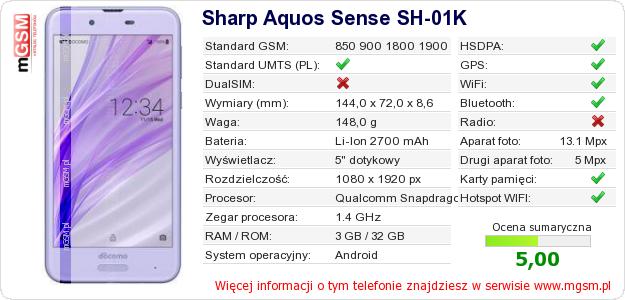 Dane telefonu Sharp Aquos Sense SH-01K
