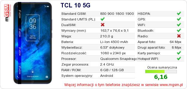 Dane telefonu TCL 10 5G