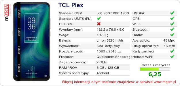 Dane telefonu TCL Plex