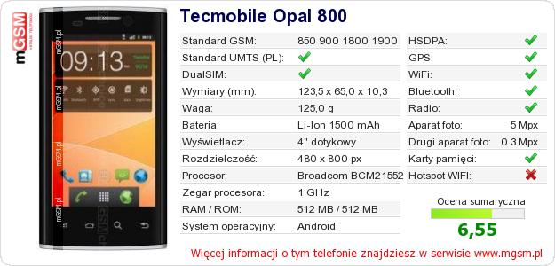 Dane telefonu Tecmobile Opal 800