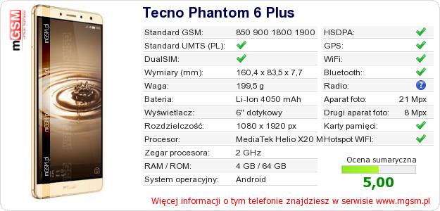 Dane telefonu Tecno Phantom 6 Plus