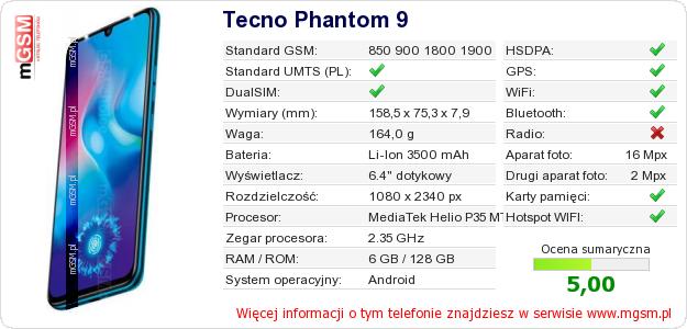 Dane telefonu Tecno Phantom 9