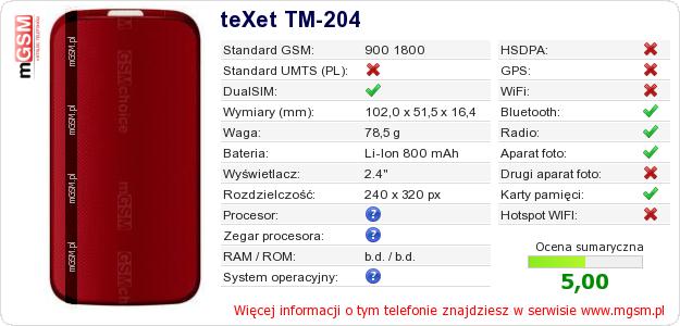 Dane telefonu teXet TM-204