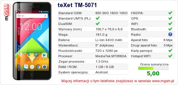 Dane telefonu teXet TM-5071