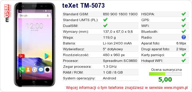 Dane telefonu teXet TM-5073