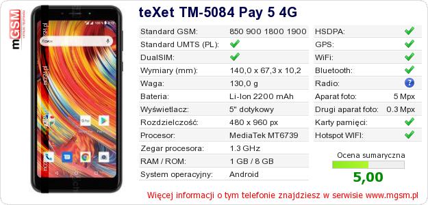 Dane telefonu teXet TM-5084 Pay 5 4G