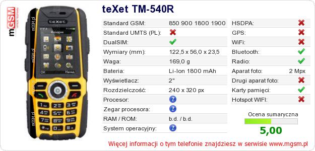 Dane telefonu teXet TM-540R