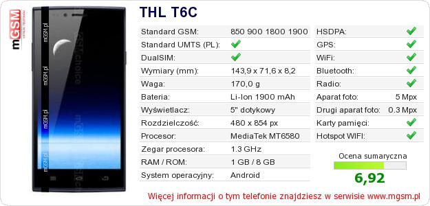 Dane telefonu THL T6C