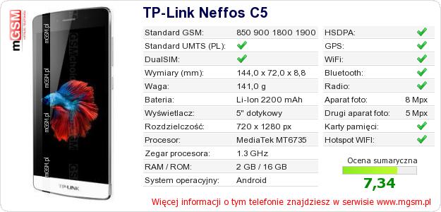 Dane telefonu TP-Link Neffos C5