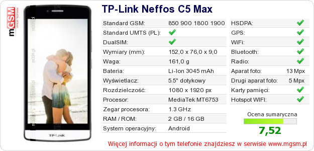 Dane telefonu TP-Link Neffos C5 Max