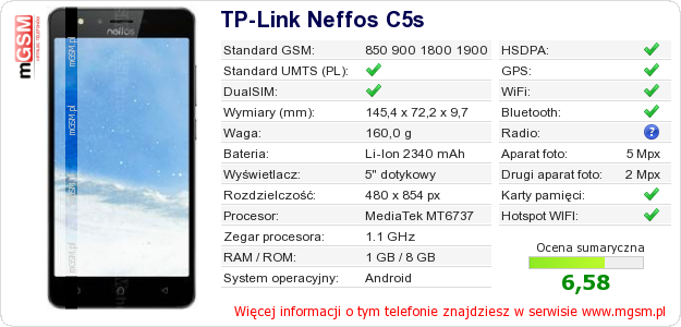 Dane telefonu TP-Link Neffos C5s