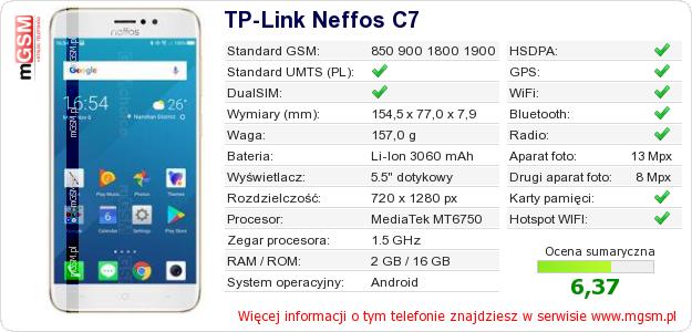 Dane telefonu TP-Link Neffos C7