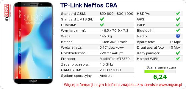 Dane telefonu TP-Link Neffos C9A