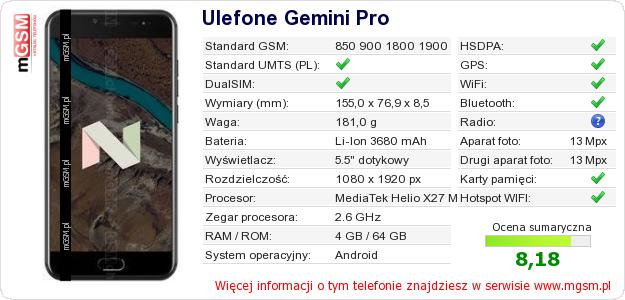 Dane telefonu Ulefone Gemini Pro