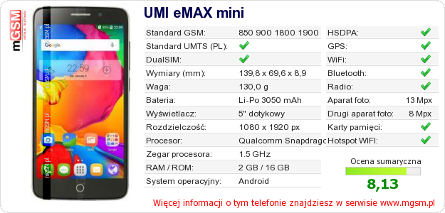 Dane telefonu UMI eMAX mini
