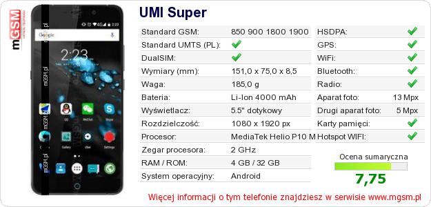 Dane telefonu UMI Super