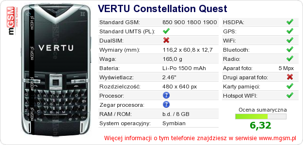 Dane telefonu VERTU Constellation Quest