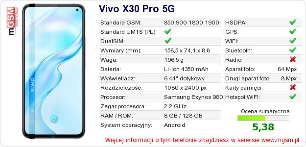 Dane telefonu Vivo X30 Pro 5G