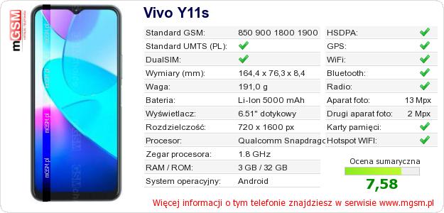 Dane telefonu Vivo Y11s