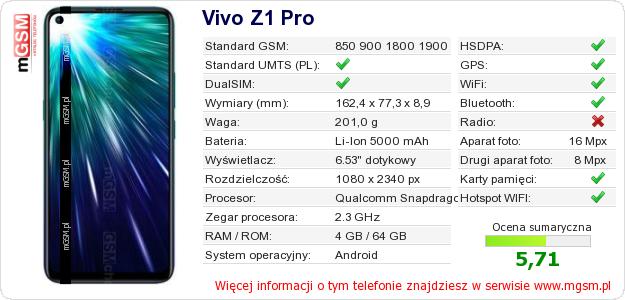 Dane telefonu Vivo Z1 Pro