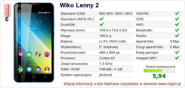 Dane telefonu Wiko Lenny 2