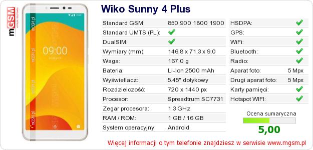 Dane telefonu Wiko Sunny 4 Plus
