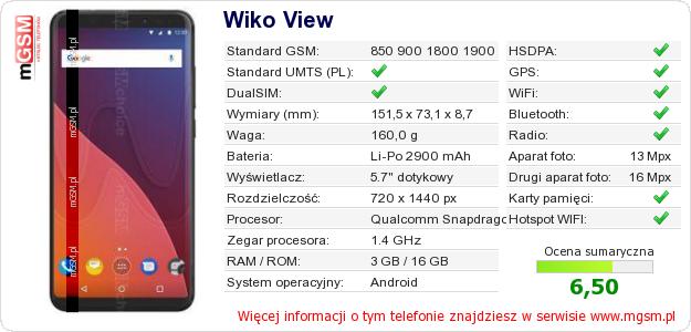 Dane telefonu Wiko View