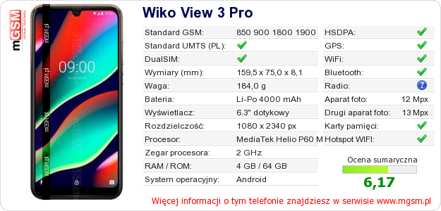 Dane telefonu Wiko View 3 Pro