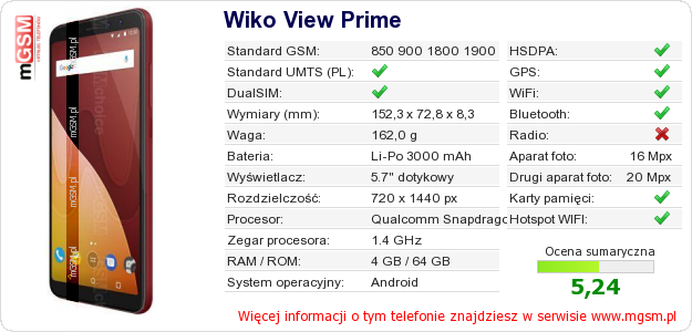 Dane telefonu Wiko View Prime