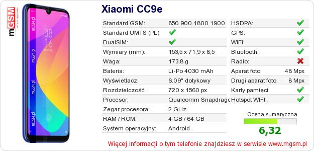Dane telefonu Xiaomi CC9e