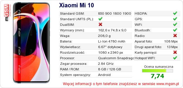 Dane telefonu Xiaomi Mi 10